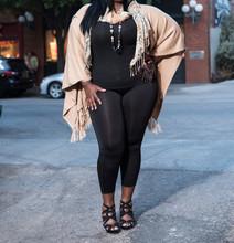Plus Size African American Model Posing On The Street