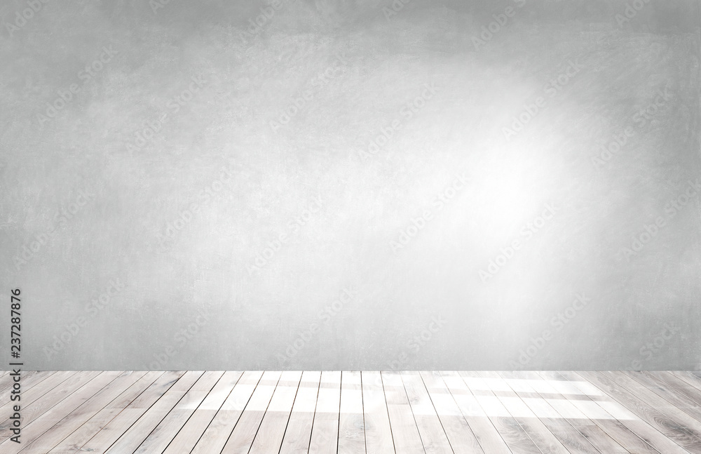 Fototapety, obrazy: Gray wall in an empty room with a wooden floor