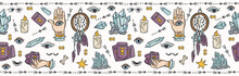 Seamless Vector Border, Spiritual Symbols And Well Being Concept Illustration On Meditation Healing With Candles, Crystals. Mindful Tarot Card Reading For Spiritual Insight. Lilac Purple Teal Blue