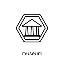 Museum Sign Icon. Trendy Modern Flat Linear Vector Museum Sign Icon On White Background From Thin Line Traffic Sign Collection