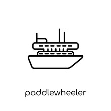 Paddlewheeler Icon. Trendy Mod...