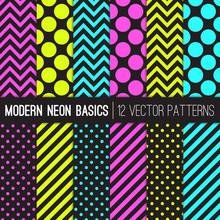 Modern Neon Vector Patterns In...