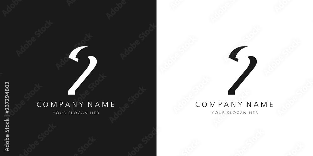Fototapeta 2 logo numbers modern black and white design