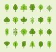 various shape of leaf icons. flat design vector graphic style.