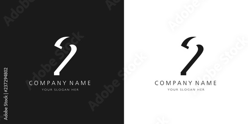 Photographie  2 logo numbers modern black and white design