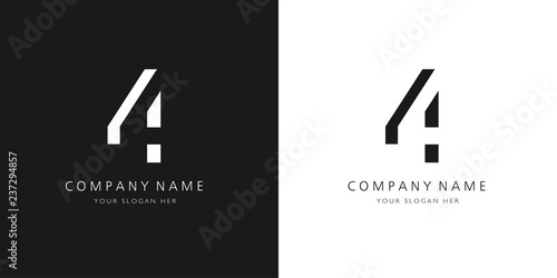 Photographie  4 logo numbers modern black and white design