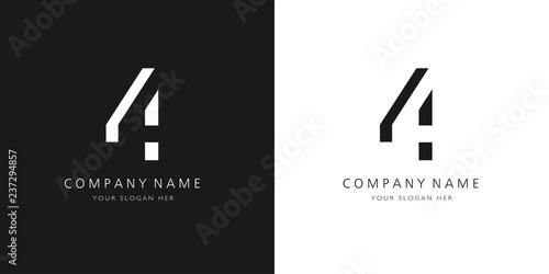 Vászonkép 4 logo numbers modern black and white design