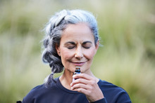 Mature Woman With Grey Hair Sm...