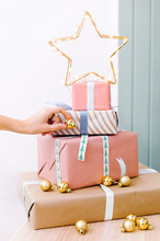 Gift Boxes With Star And Baubles
