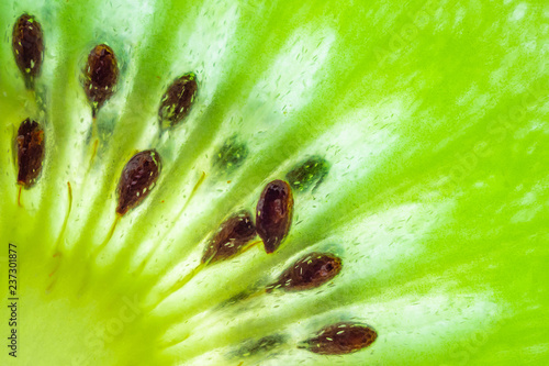 Obraz na plátně Fresh kiwi fruit slices closeup macro texture background