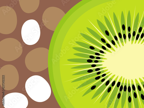 Abstract fruit design in flat cut out style. Kiwi Fruit. Vector illustration. - 237302222