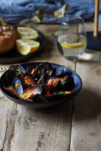 Mussels In Tomato Sauce Appetizer.