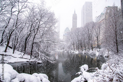 Fototapeta A snowy day in New York  obraz