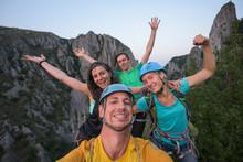 Lively Rock Climbers Celebrati...