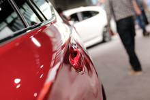 Modern Red Car. Auto Show