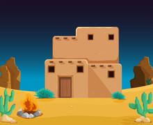 An Adobe House At Desert