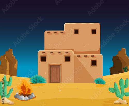 An adobe house at desert Wallpaper Mural