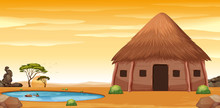 An African Hut In Desert
