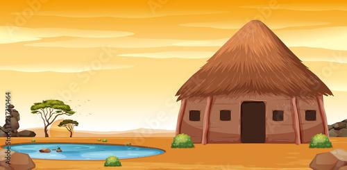 Fotomural An african hut in desert