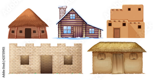 Set of different culture houses Poster Mural XXL