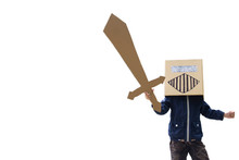 Recycle Brown Paper Box For Kid Toy Like A Knight Isolate On White Background