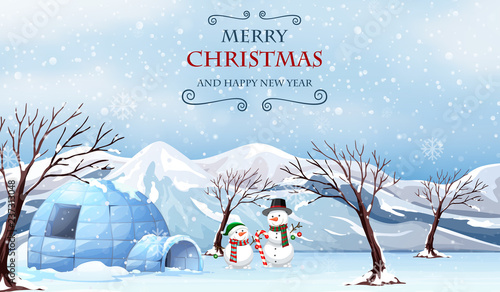 Poster Kids Merry christmas outdoor template