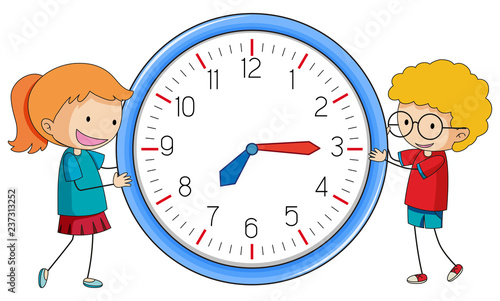 Staande foto Kids Doodle boy and girl with clock