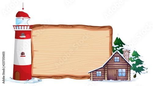 Staande foto Kids Wooden board and winter house