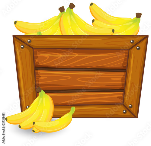 Staande foto Kids Banana on wooden banner