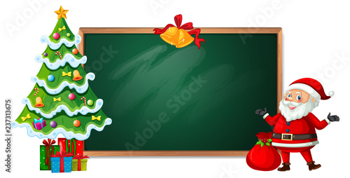 Staande foto Kids Christmas on blackboard banner