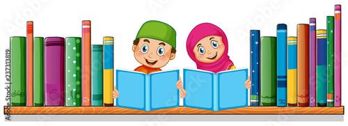 Staande foto Kids Muslim student reading book