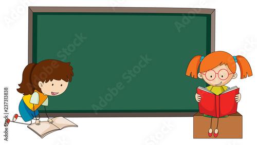 Staande foto Kids Doodle girls reading book on blackboard template