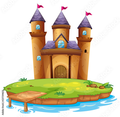 Staande foto Kids Isolated castle on white background