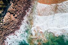 Aerial View Of A Rocky Wild Beach