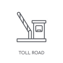 Toll Road Linear Icon. Modern Outline Toll Road Logo Concept On White Background From Maps And Locations Collection