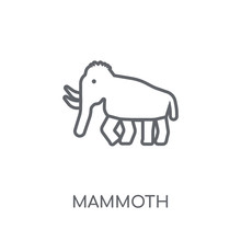 Mammoth Linear Icon. Modern Outline Mammoth Logo Concept On White Background From Museum Collection