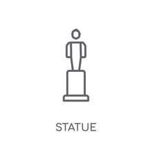 Statue Linear Icon. Modern Outline Statue Logo Concept On White Background From Museum Collection