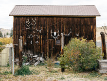 Large Barn With Animal Skulls Decorating The Side In Rural Town USA