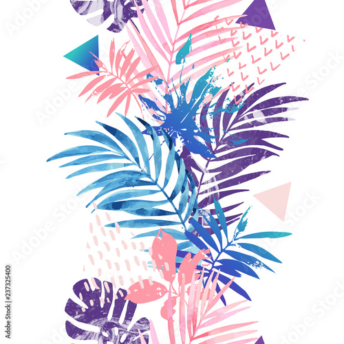 Poster de jardin Empreintes Graphiques Creative seamless pattern inspired by summer holidays