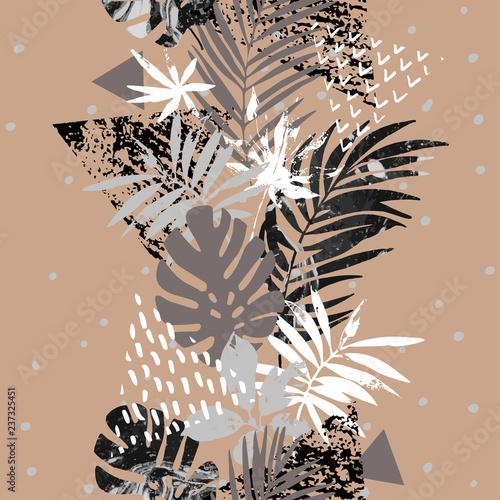 trojkaty-bezowe-liscie-abstrakcja