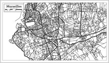 Marseille France City Map In Retro Style. Outline Map.