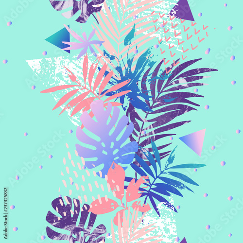 Poster Grafische Prints Modern illustration with tropical leaves, grunge, marbling textures, doodles, geometric, minimal elements.