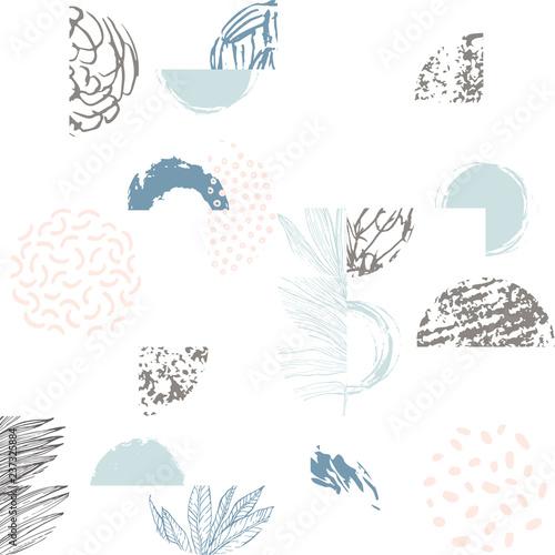 Photo sur Toile Empreintes Graphiques Modern illustration with line art of tropical leaves, grunge textures, doodles, geometric elements.
