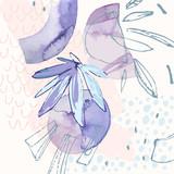 Nowożytna ilustracja z tropikalnymi liśćmi, akwarelą, grunge teksturami, doodles, geometrycznymi, minimalnymi elementami. - 237326299