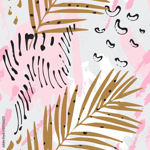 Fotobehang Grafische Prints Modern art illustration with tropical leaves, grunge, marbling textures, doodles, geometric, minimal elements.