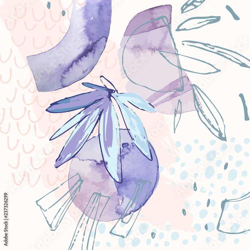 fiolet-abstrakcja-liscie