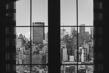 Black And White Skyline City View Seen Through Window