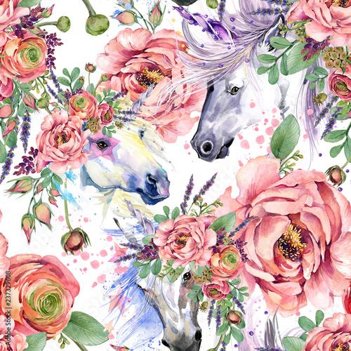 Obrazy Jednorożec   magiczny-jednorozec-akwarela-wzor-roze-kwiaty-bezszwowe-tlo