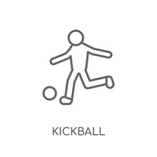 Kickball Linear Icon. Modern Outline Kickball Logo Concept On White Background From Sport Collection