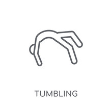 Tumbling Linear Icon. Modern Outline Tumbling Logo Concept On White Background From Sport Collection